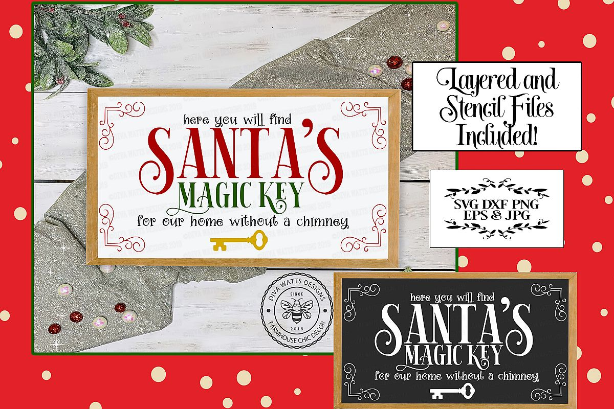 Santa's Magic Key for a Home Without A Chimney Cutting File example image 1
