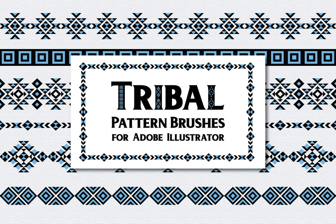 Tribal Pattern Brushes for Adobe Illustrator example image 1