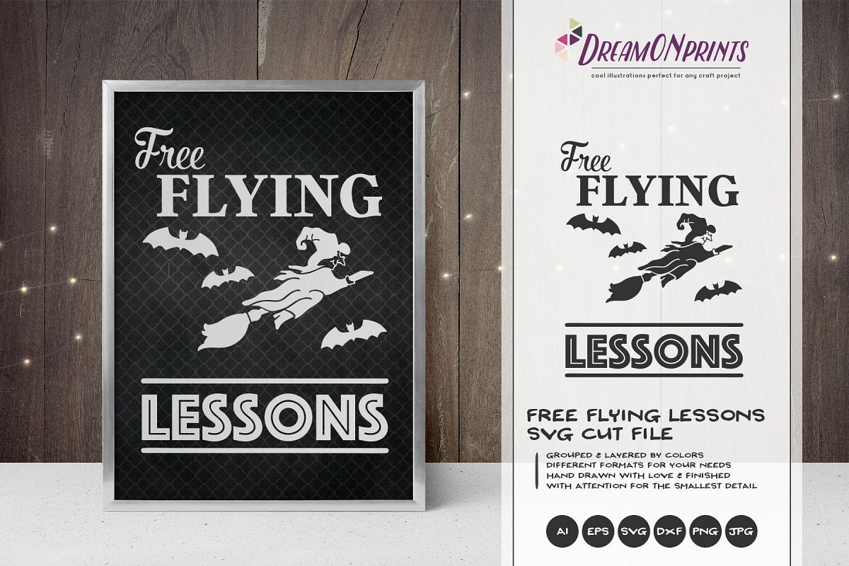 Free Flying Lessons| Witch SVG | Halloween SVG Cut File example image 1