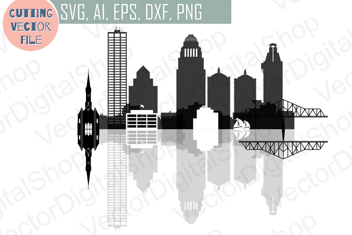 Louisville Skyline Vector, Kentucky USA city, SVG, JPG, PNG, DWG, CDR, EPS, AI example image 1