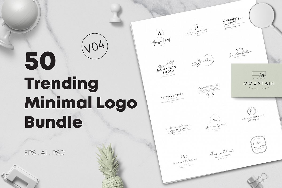 50 Trending Minimal Logo Bundle V04 example image 1