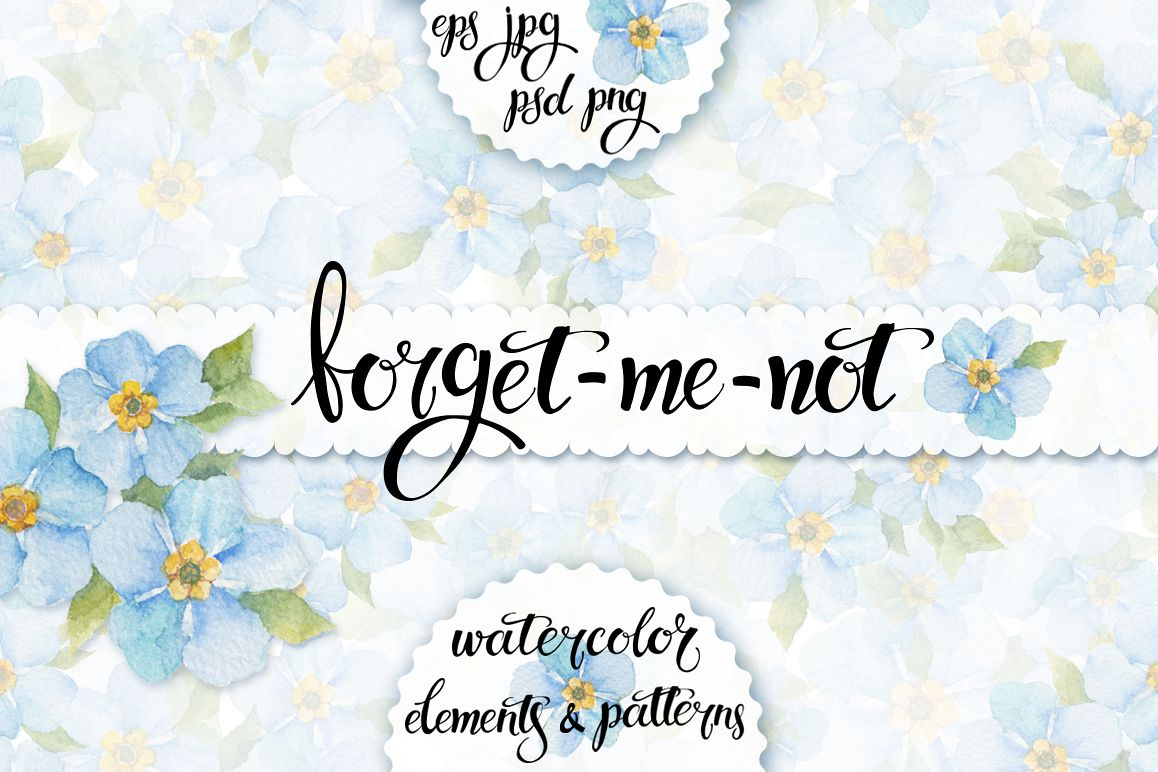 Forget-me-not. Watercolor set. example image 1