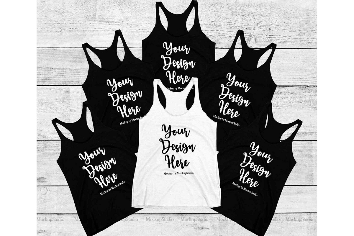 Bachelorette Group Bride Squad Bridesmaid Tank Top Mockup example image 1