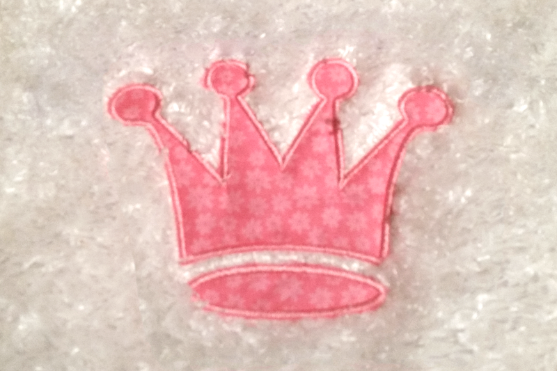 Princess crown applique embroidery design