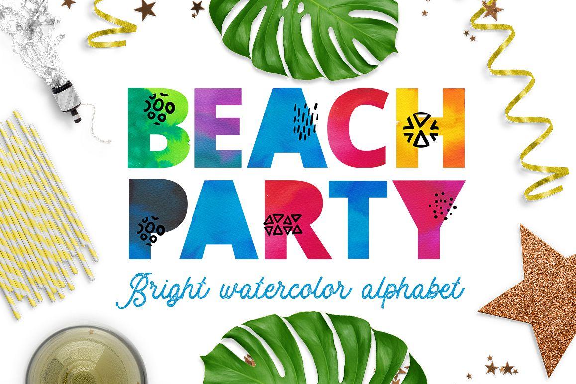 Beach party - watercolor alphabet example image 1