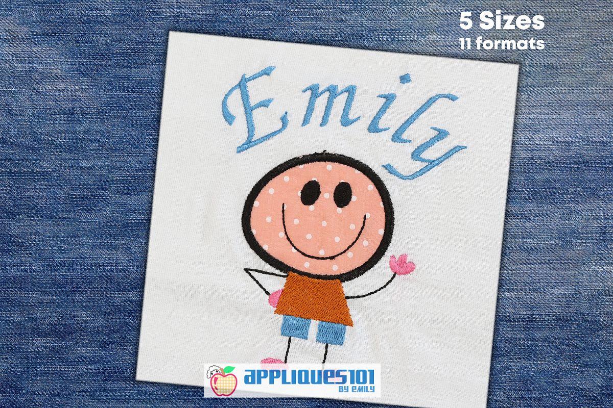 Cute Boy Machine Embroidery Applique Design - Boys example image 1