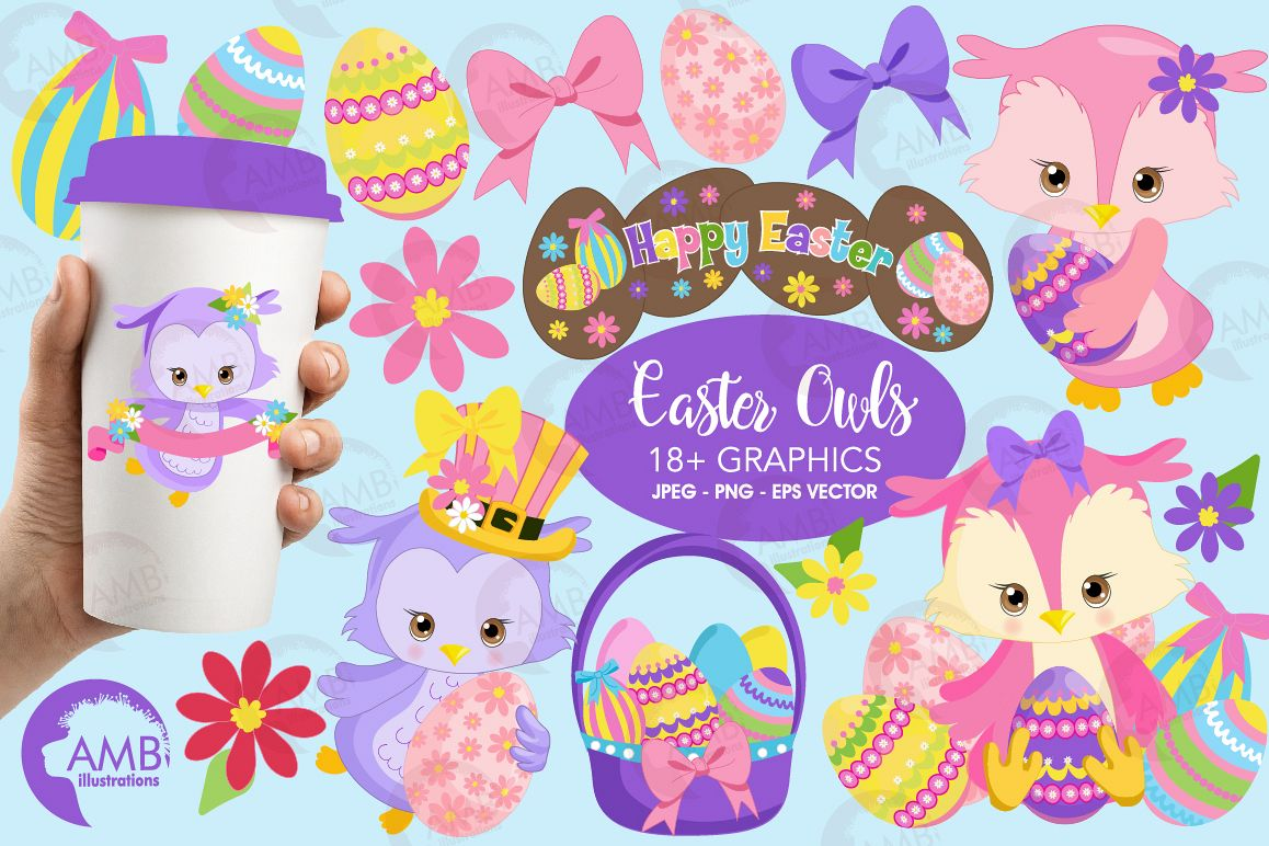 Easter Owls clipart, graphics, illustrations AMB-1818 example image 1