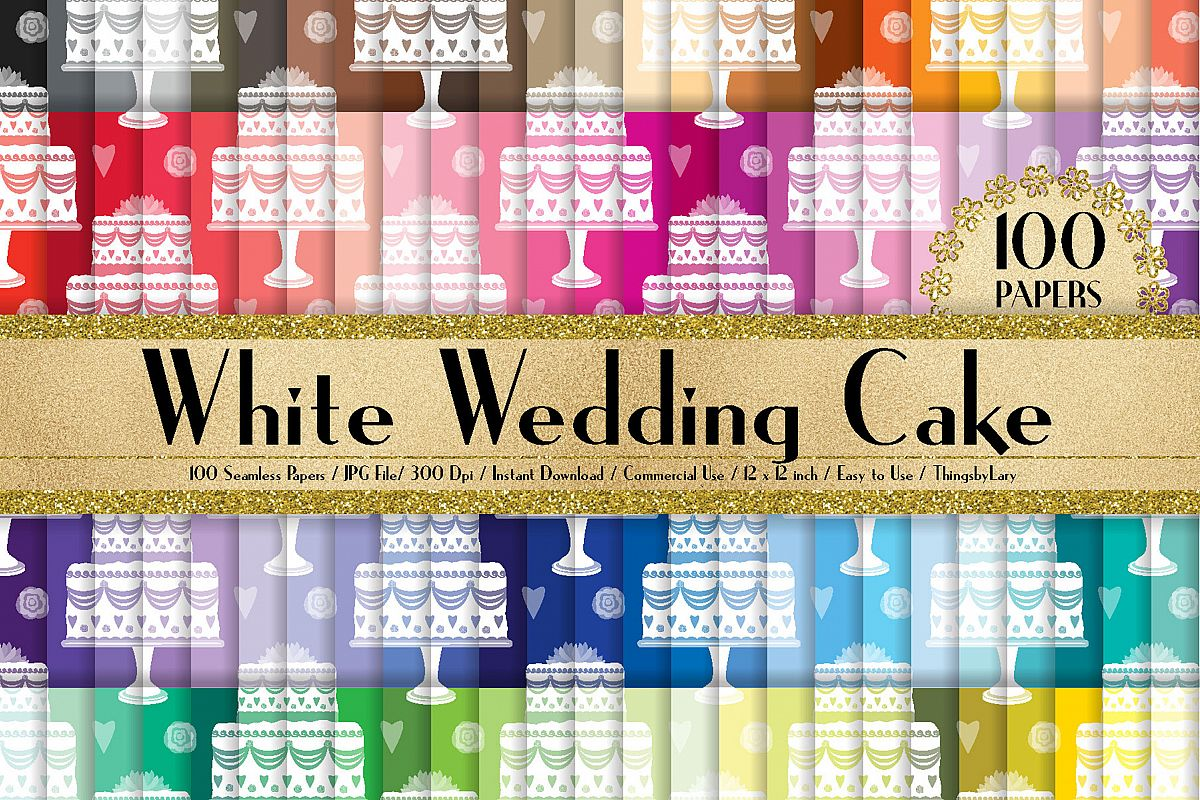 100 Seamless White Wedding Cake Digital Papers 12 x 12 inch