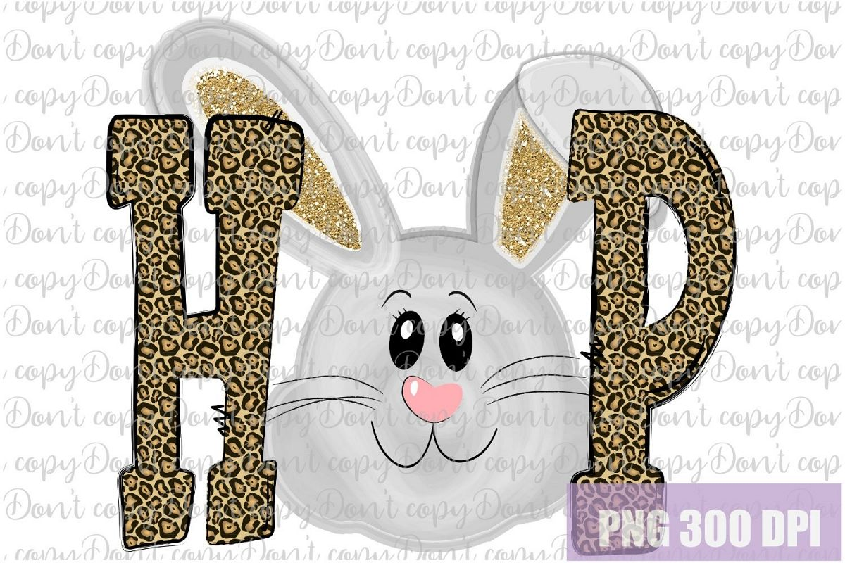 Hop Leopard Gold Bunny Easter Sublimation PNG Design example image 1