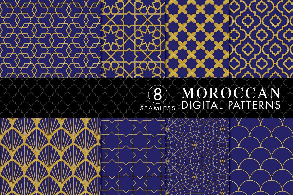 8 Seamless Moroccan Patterns - Gold & Cobalt Blue Set 1 example image 1