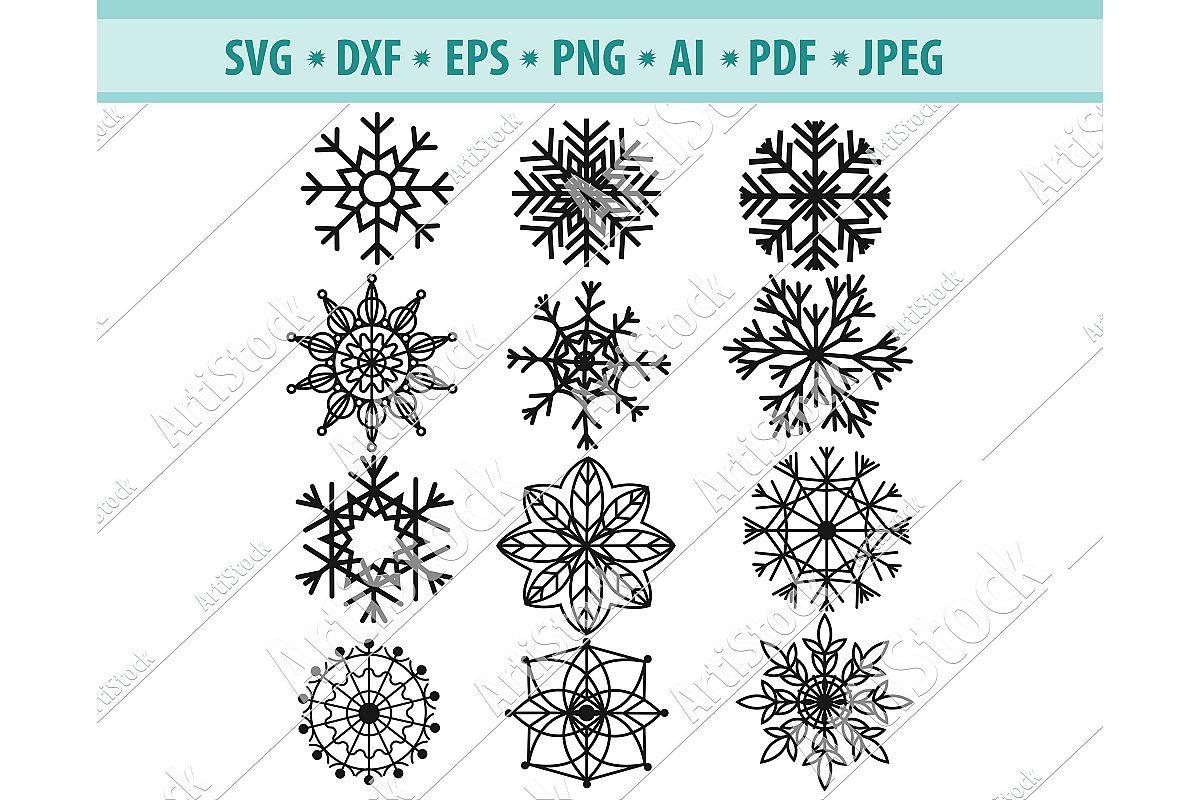 Snowflake SVG, Snowflake clipart, Winter Svg, DXF, PNG, EPS example image 1