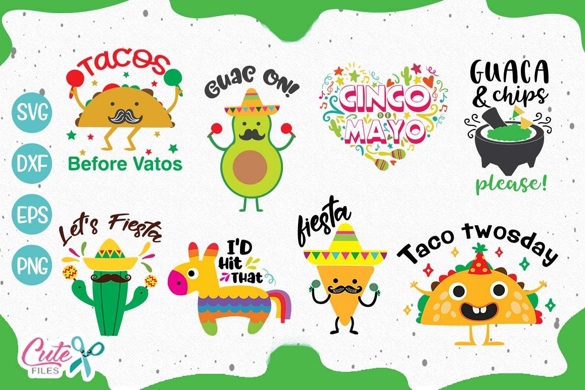 Cinco de mayo saying bundle svg Cut Files example image 1