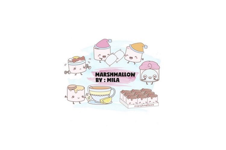 KAWAII MARSHMALLOW CLIPART BUNDLE PNG example image 1