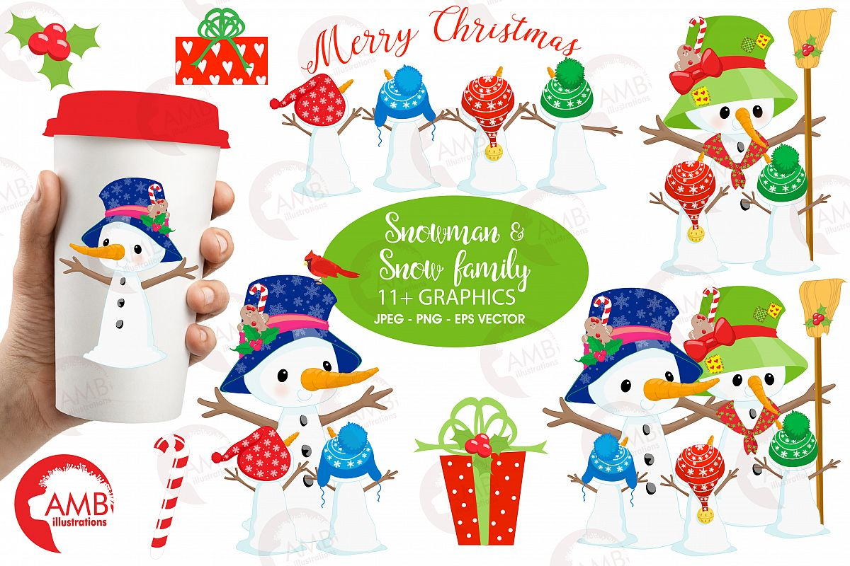 Snowman Clipart, Christmas Clipart, Frosty the Snowmen Clipart, Snowman Family, Snowman Clipart, AMB-1512clipart, graphics, illustrations AMB-1512 example image 1