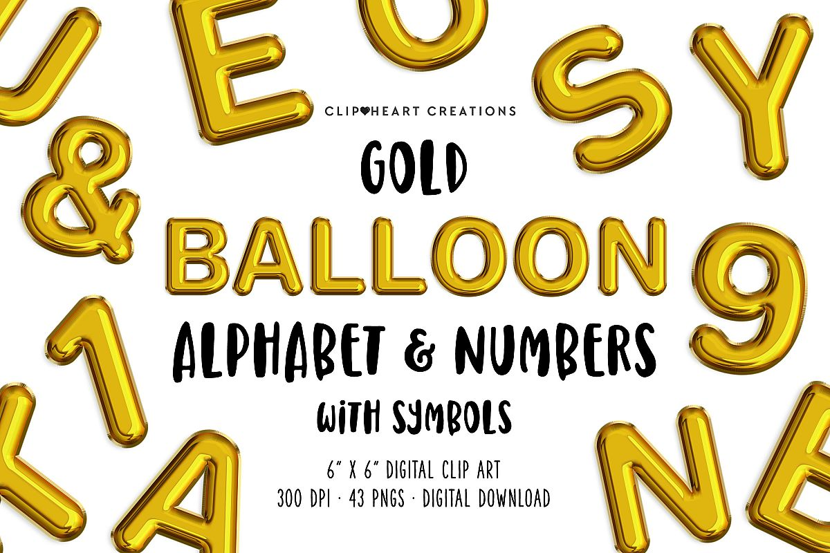 Gold Foil Balloon Alphabet & Numbers example image 1