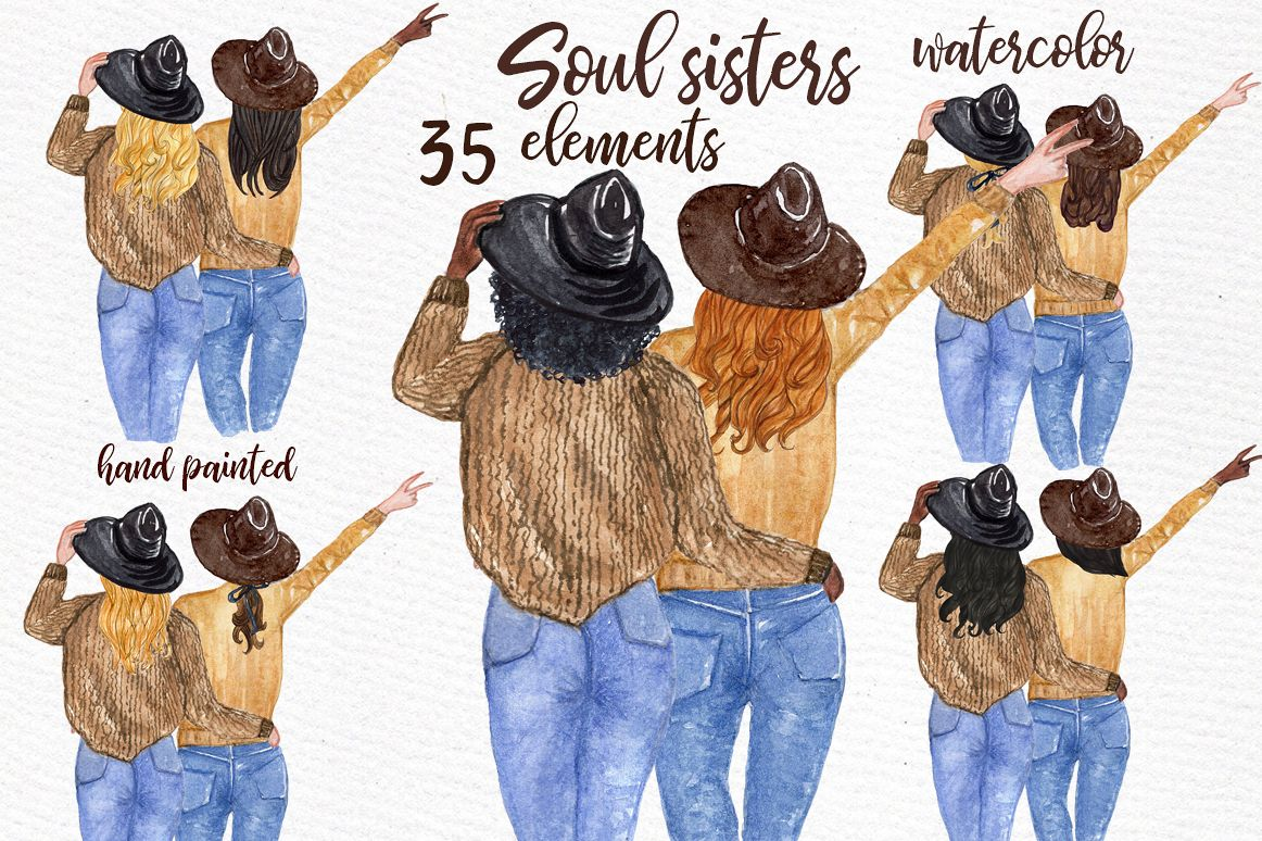 Best Friends Clipart, SOUL SISTERS CLIPART, Bff clipart example image 1