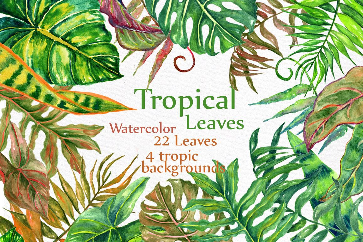 Tropical watercolor leaves example image 1