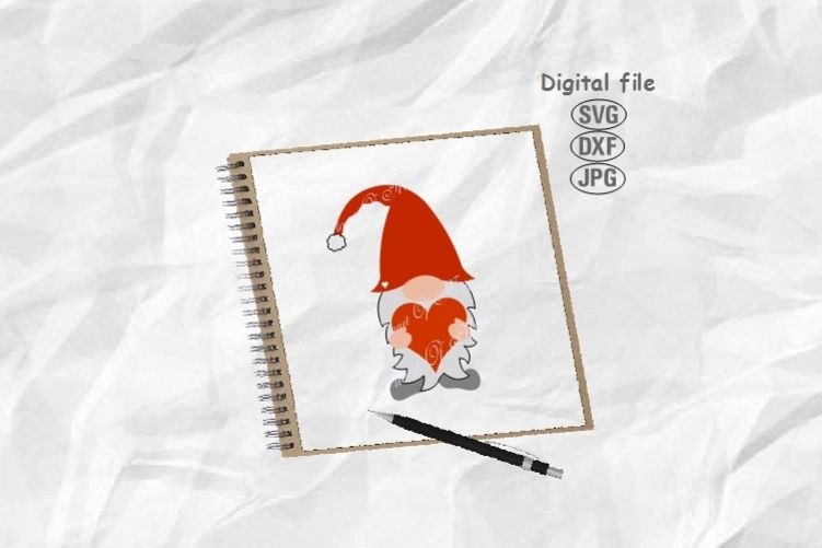 Gnome Svg, Valentine Gnome Svg, Valentine Day Svg example image 1