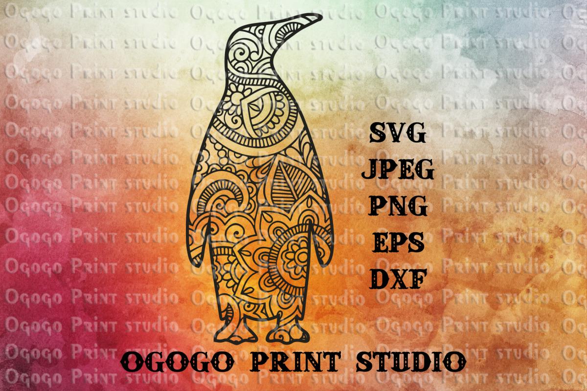 Penguin SVG, Zentangle SVG, Mandala svg, Sea animal svg example image 1