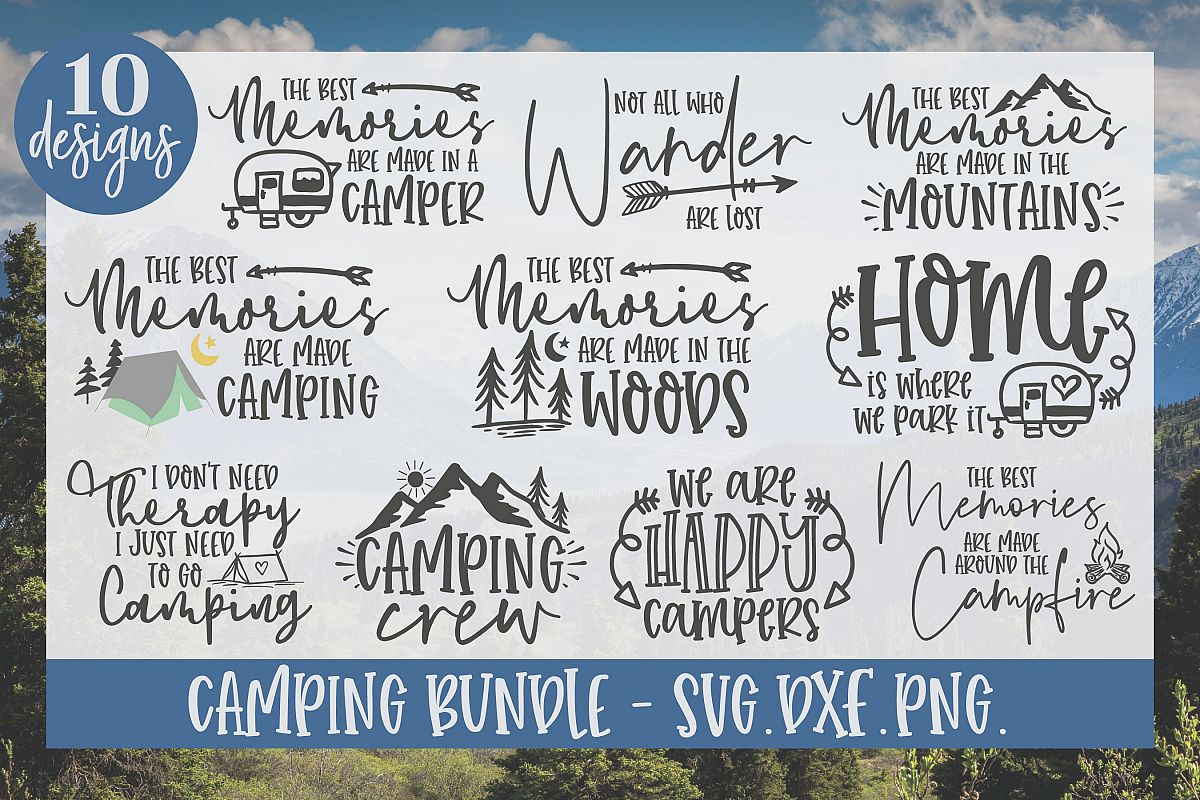 Camping Bundle - 10 Camping SVG Cut Files example image 1