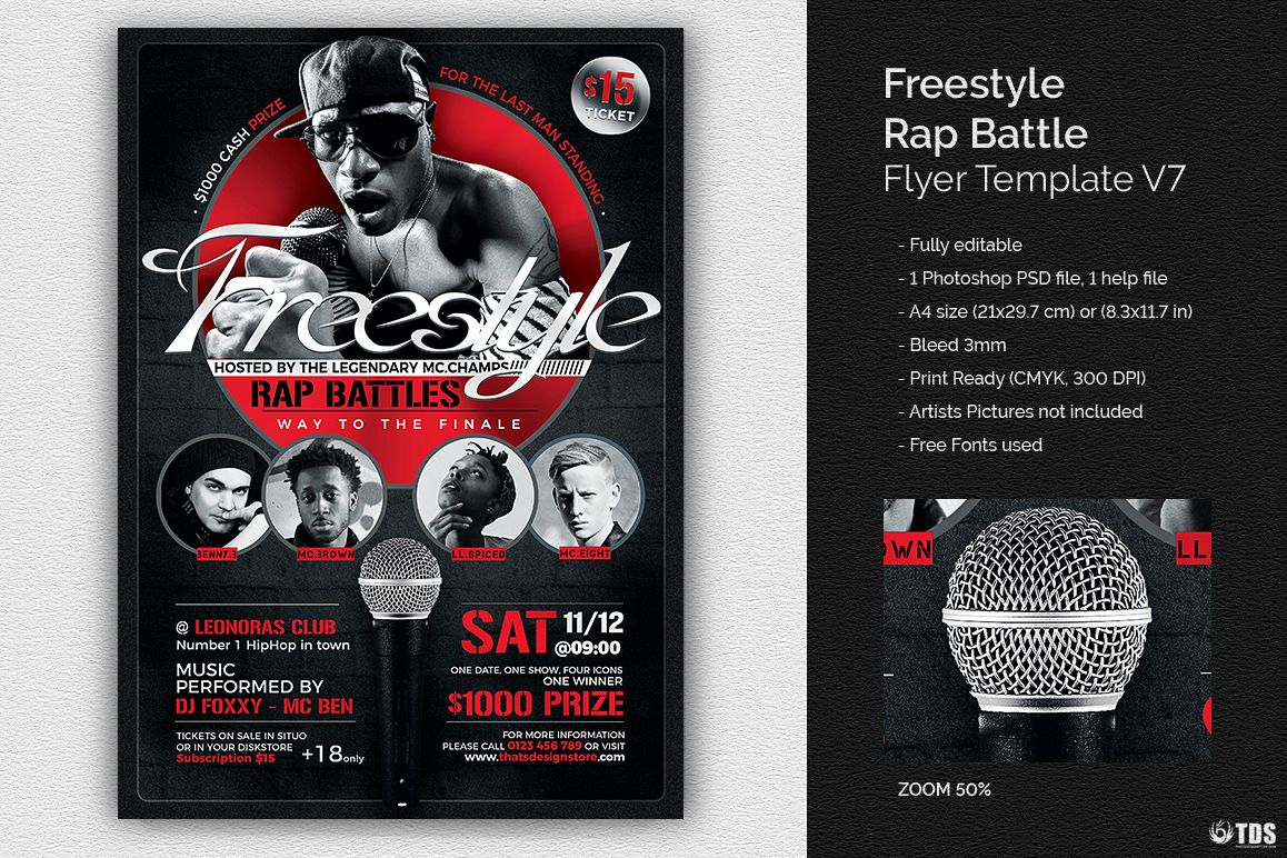 freestyle rap battle flyer template v7