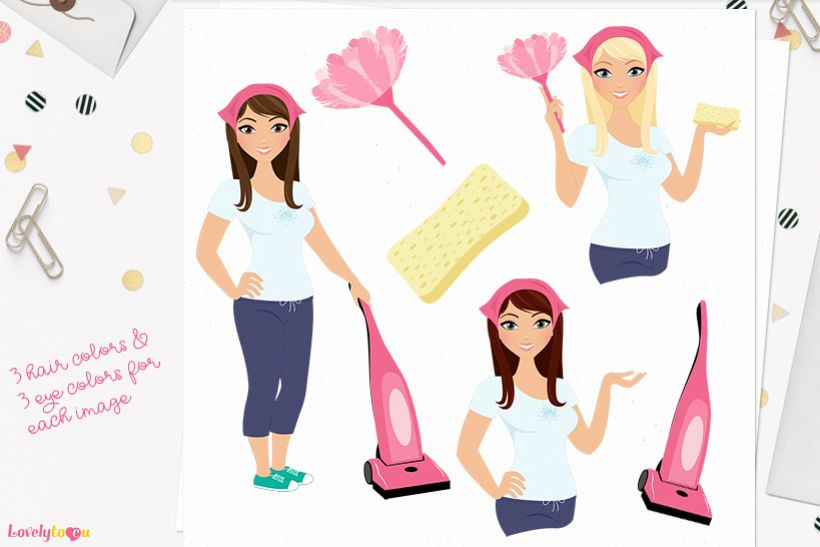 Woman cleaner character clip art L187 Zara example image 1