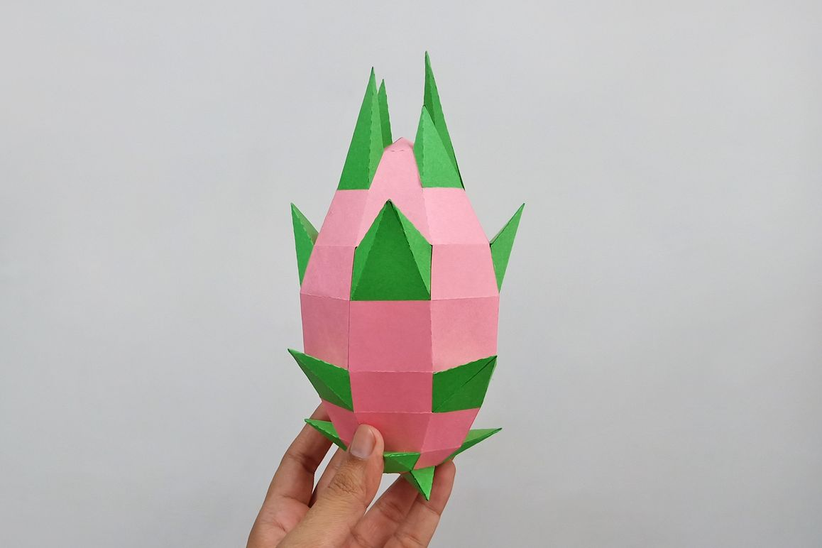 DIY Papercraft Dragon fruit,Pitaya fruit,Lowpoly papercraft example image 1