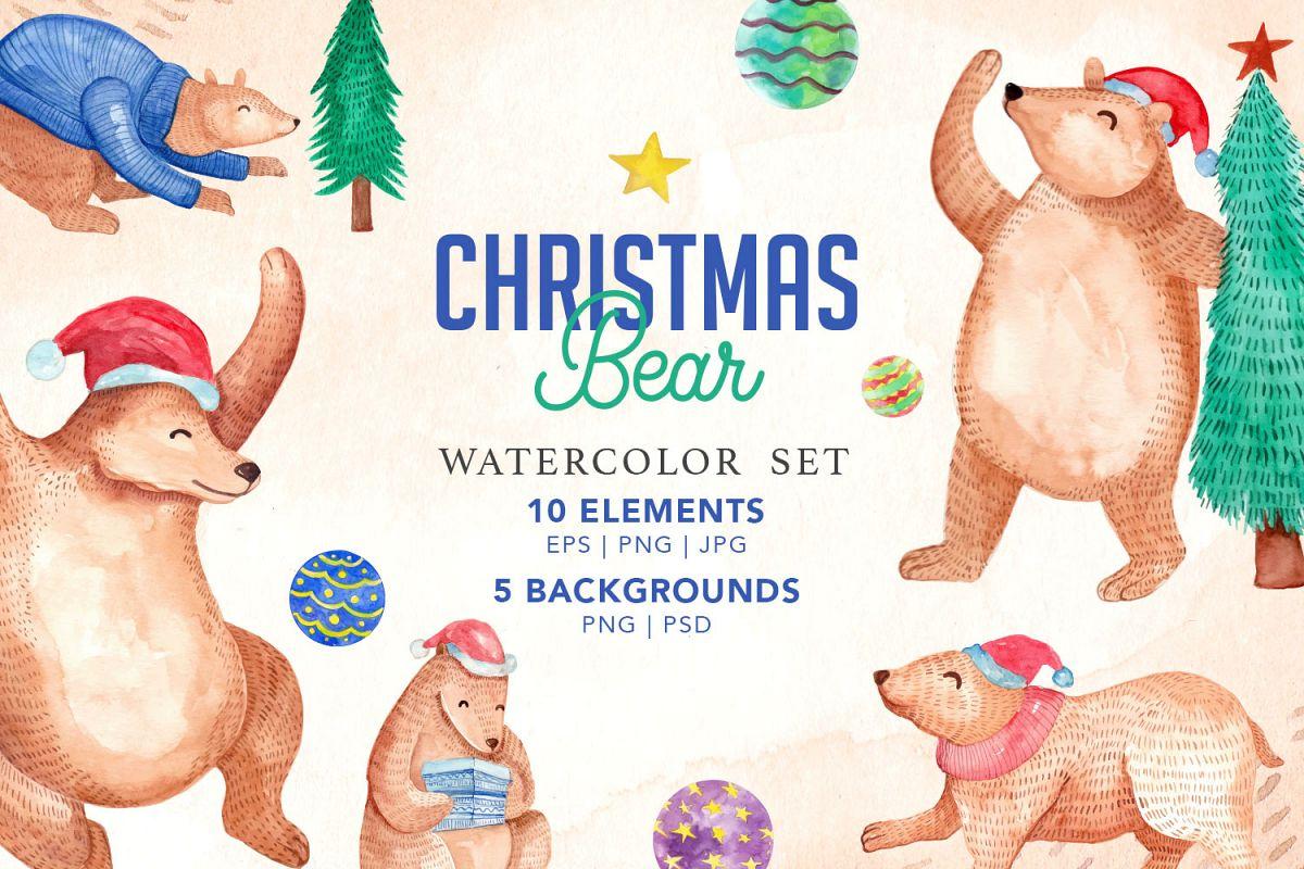 Christmas Bear.Cute Christmas Bear Watercolor Set
