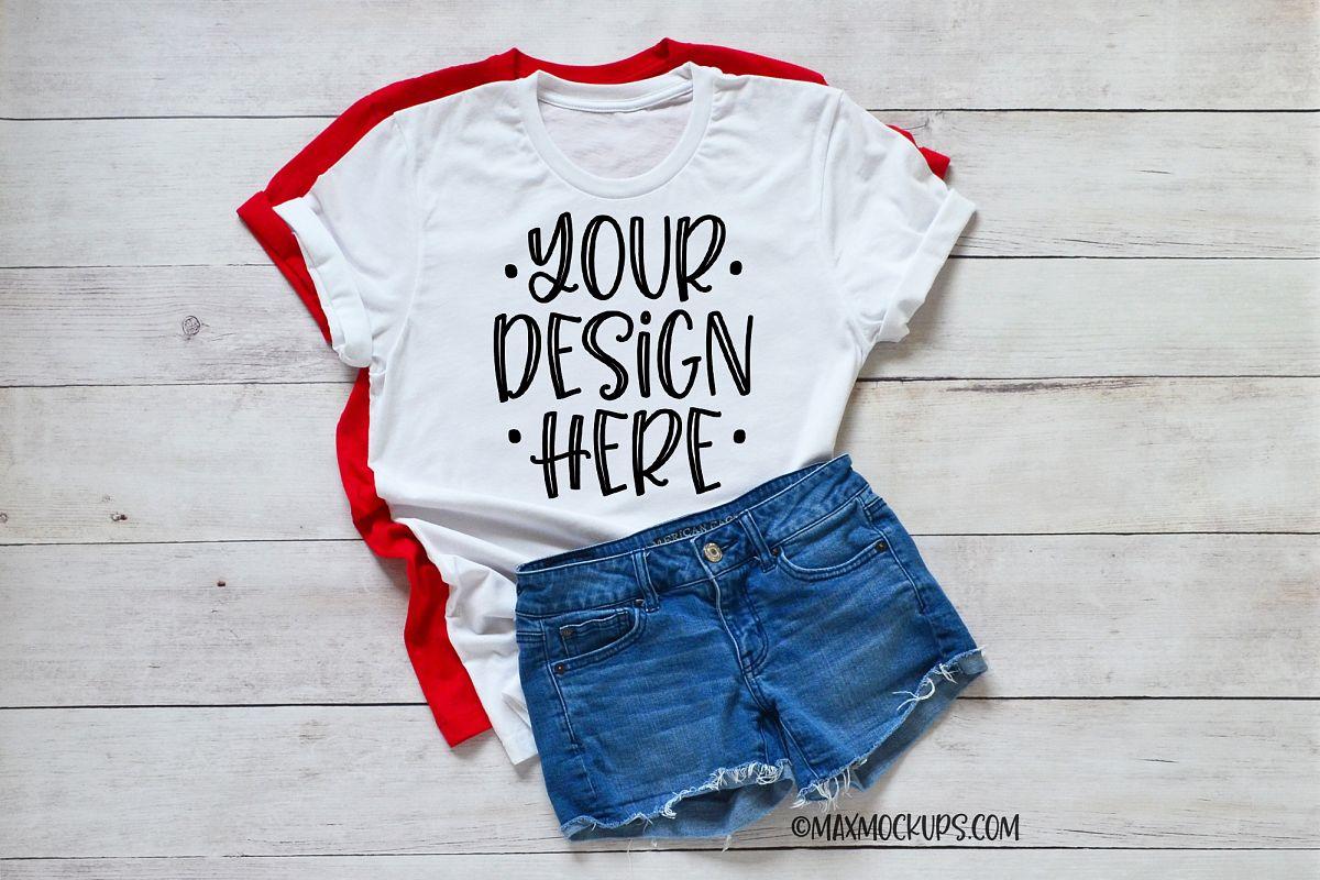 White t-shirt Mockup Bella Canvas, jean shorts and summer example image 1