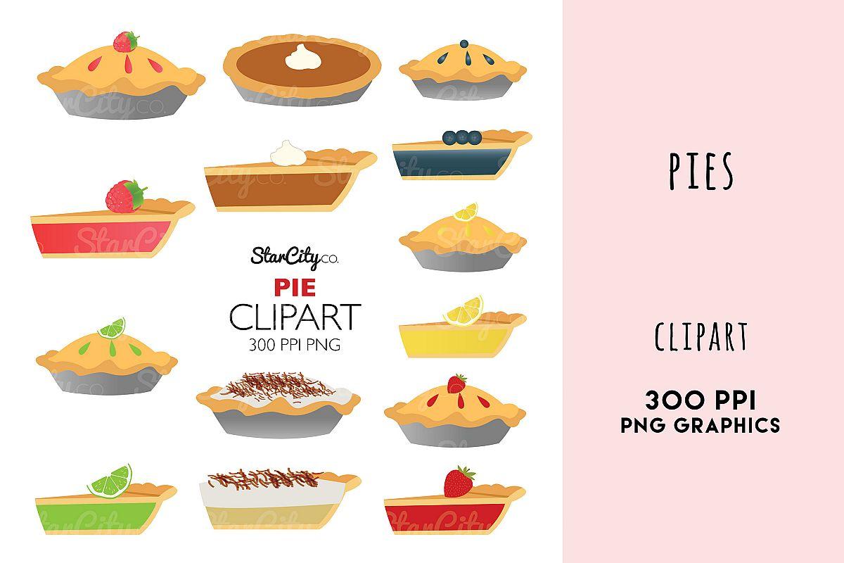 Pie Clipart Graphics, Pumpkin Pie, Lemon Meringne example image 1