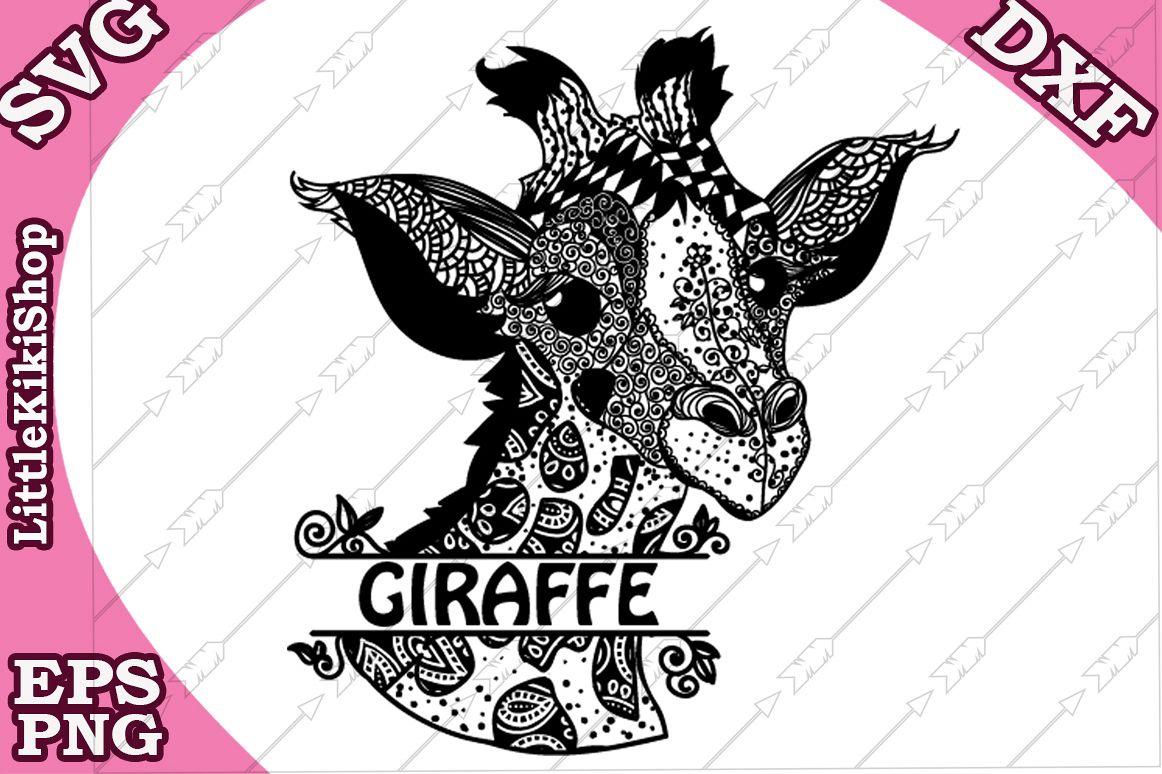 Baby Giraffe Svg, Mandala giraffe SvgMonogram Giraffe Svg example image 1