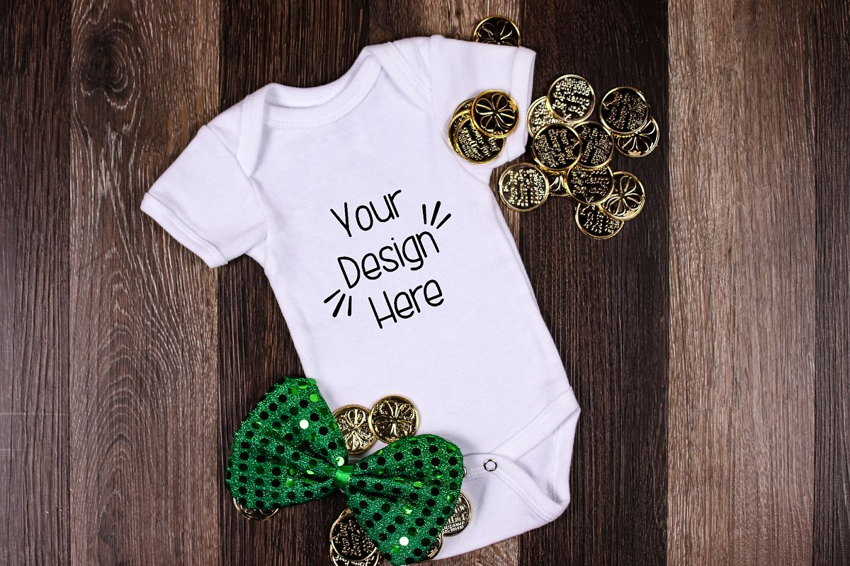 March Baby Suit Mockup 10| St Patricks Day Baby shirt Mockup example image 1