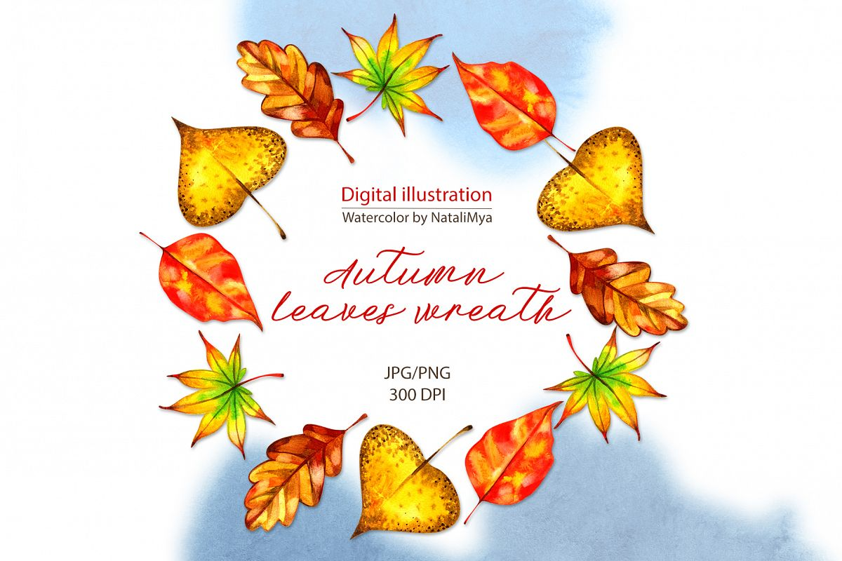 Watercolor autumn leaves wreath example image 1
