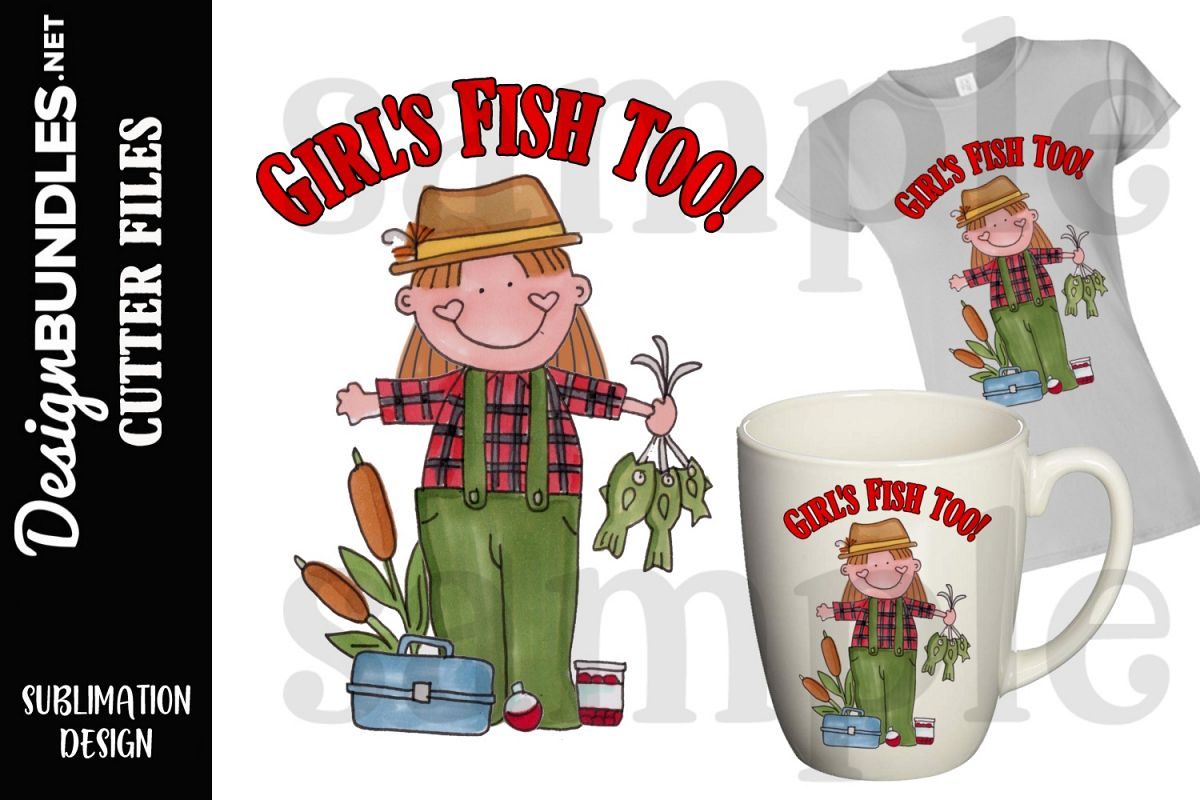 Girls Fish Too Sublimation Design example image 1