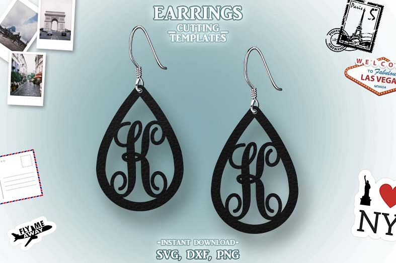 Letter K, Teardrop Monogram Earrings, SVG, Cut File, Cricut example image 1