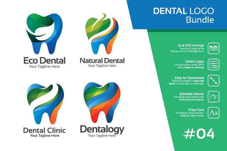 Set bundle logo - Dental and dentist bundle logo #4 example image 1