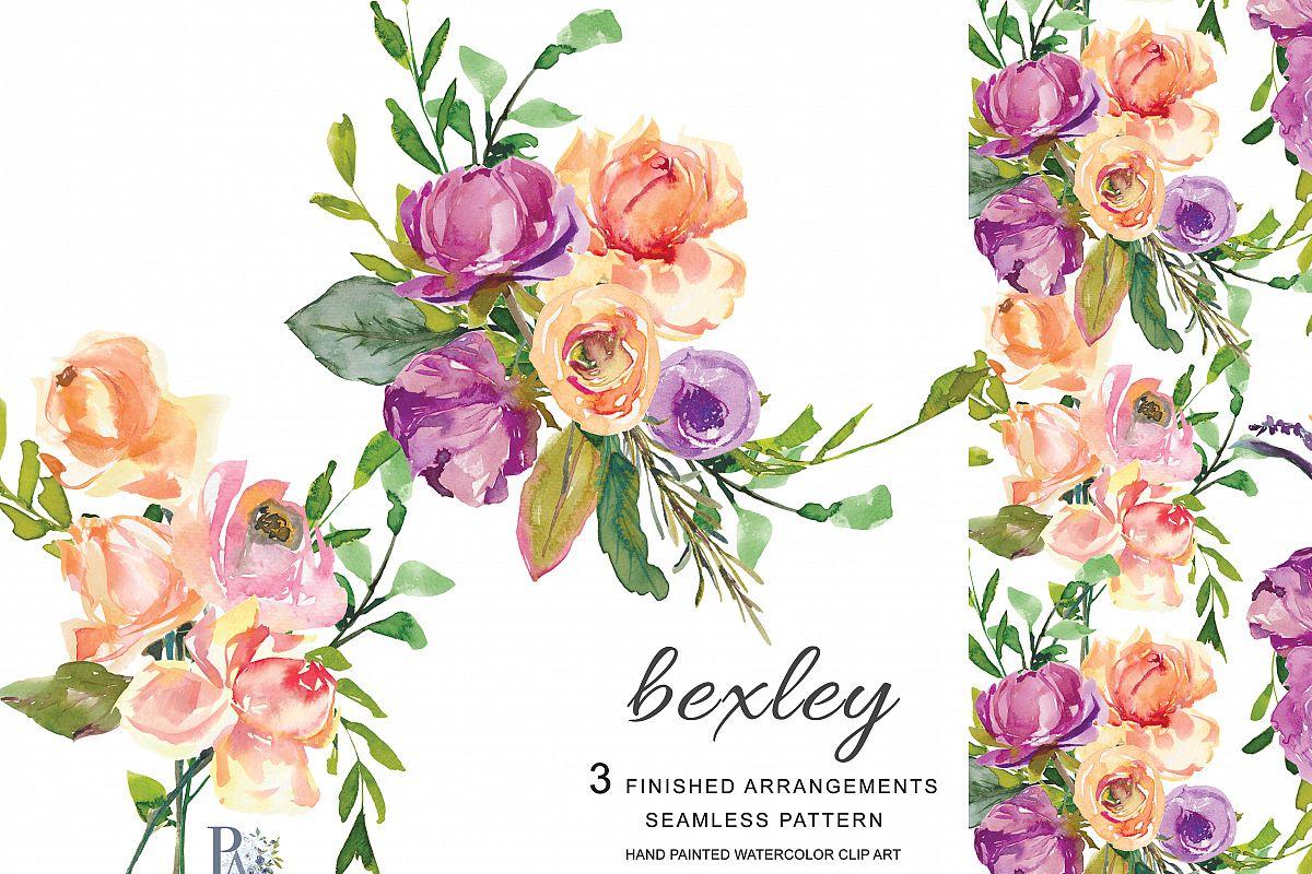 watercolor purple peach flowers clip design bundles