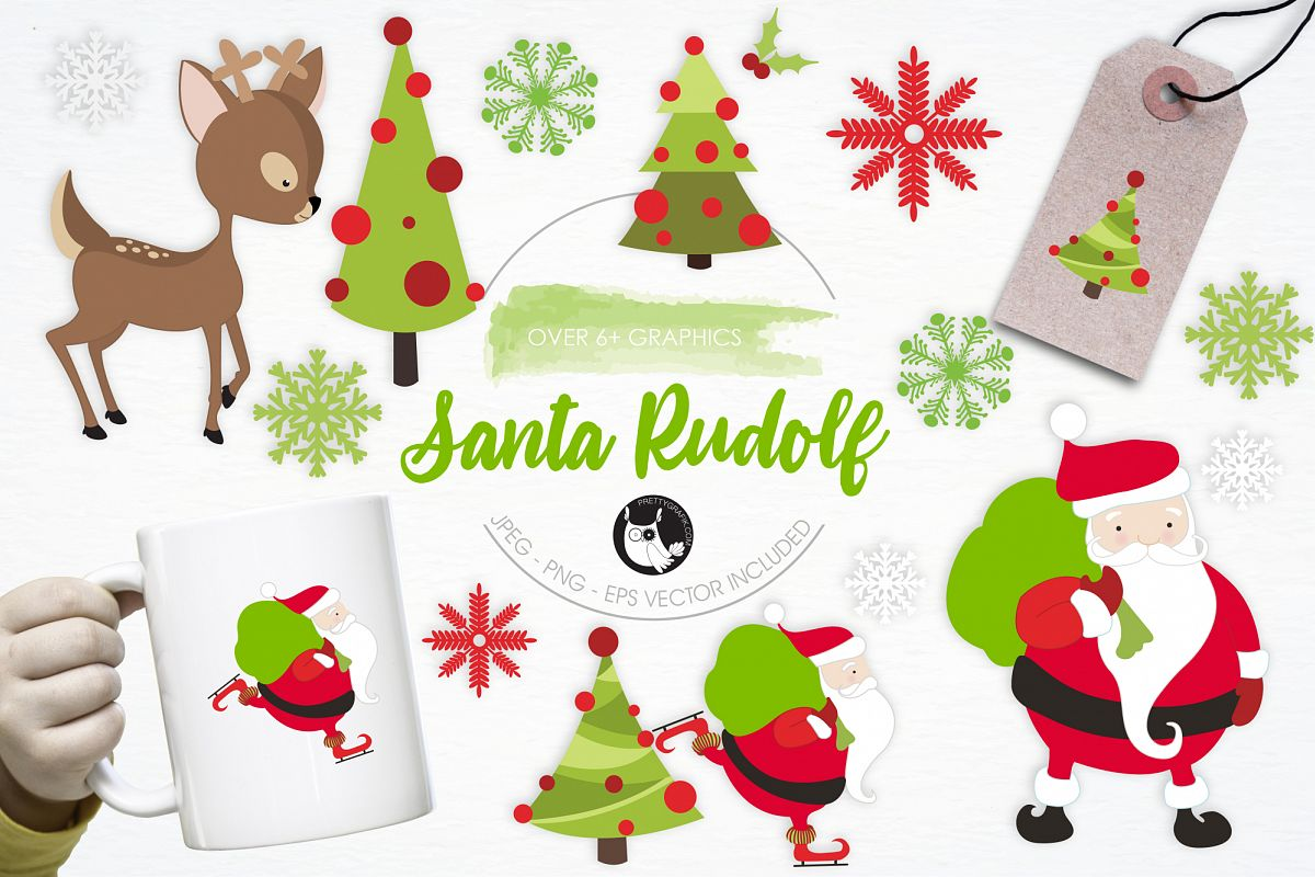 Santa Rudolf graphics and illustrations example image 1
