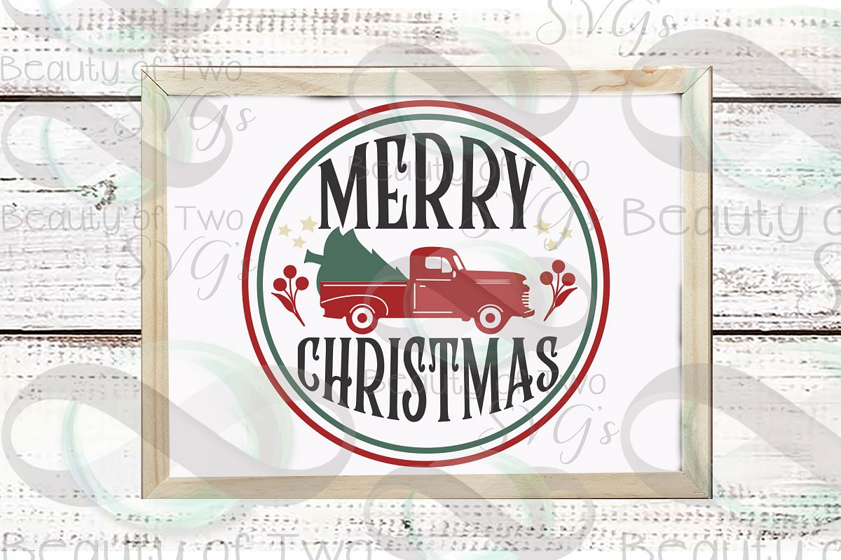 Merry Christmas Red Truck svg, Vintage Christmas sign svg example image 1