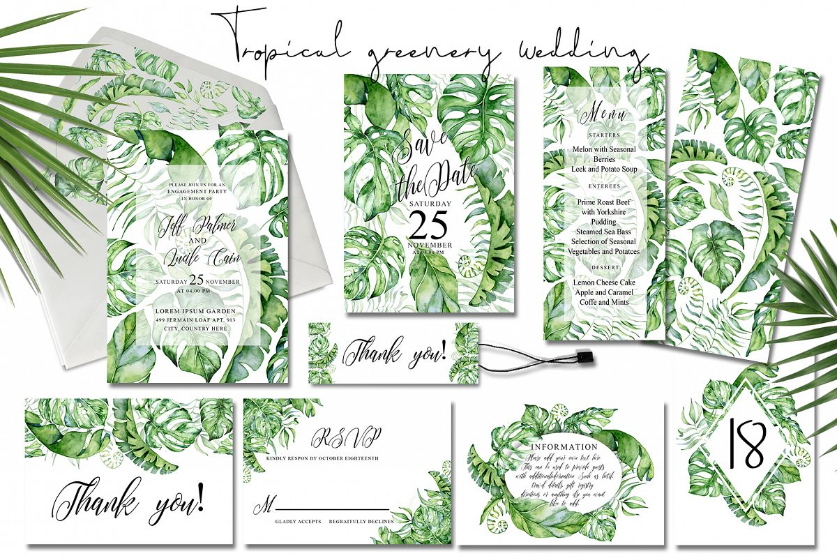 Tropical Greenery Wedding Suit example image 1