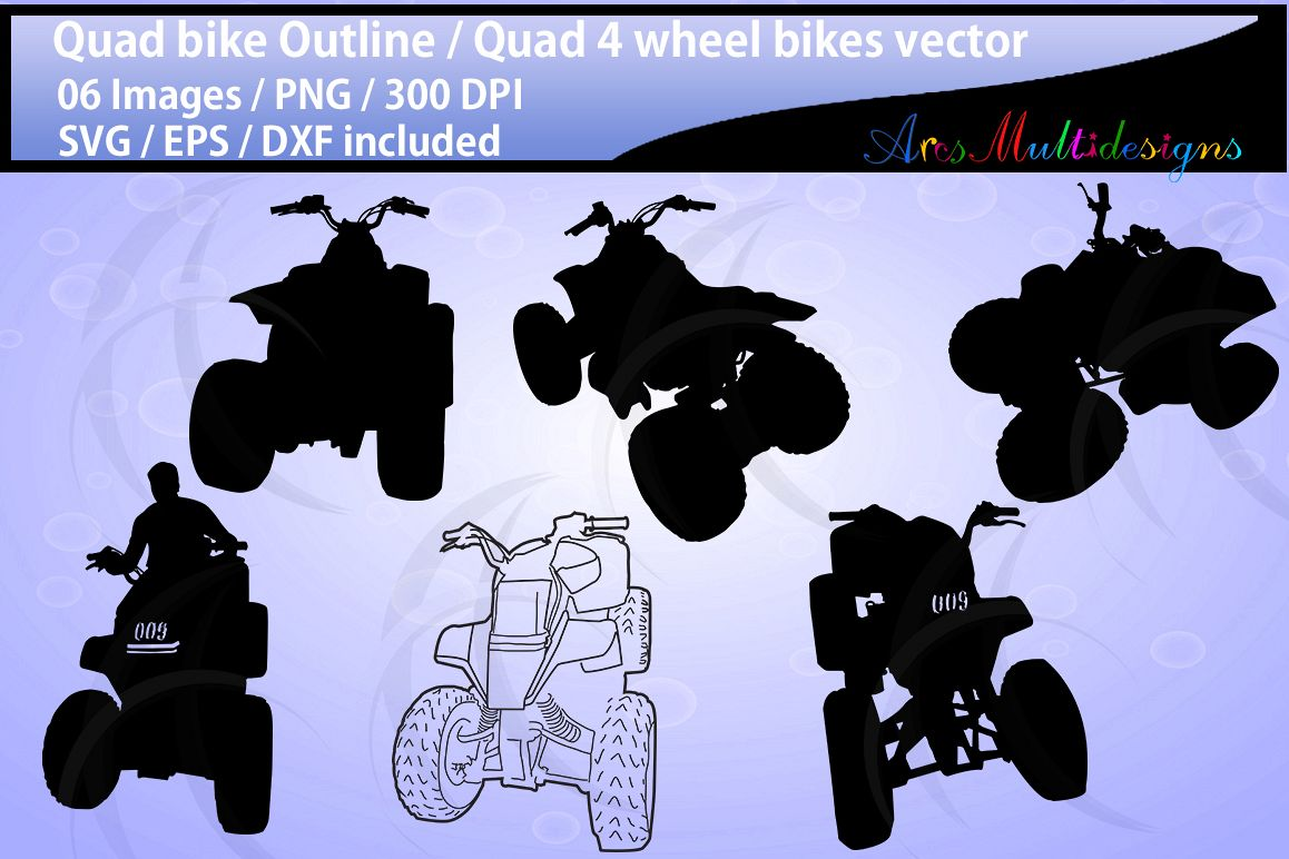 Quad bikes clipart and silhouette SVG EPS DXf Png / quad bike riders / four wheel bikes / quad bike outline illustration / commercial use example image 1