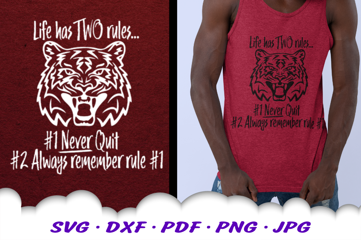 Never Quit Motivational Tiger SVG DXF Cut Files example image 1