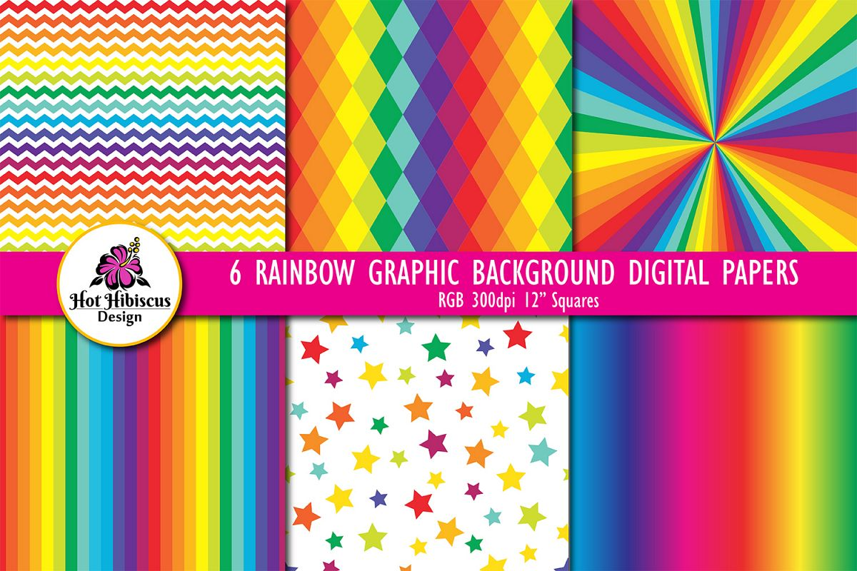 Six Graphic Rainbow Background Patterned Digital Papers example image 1