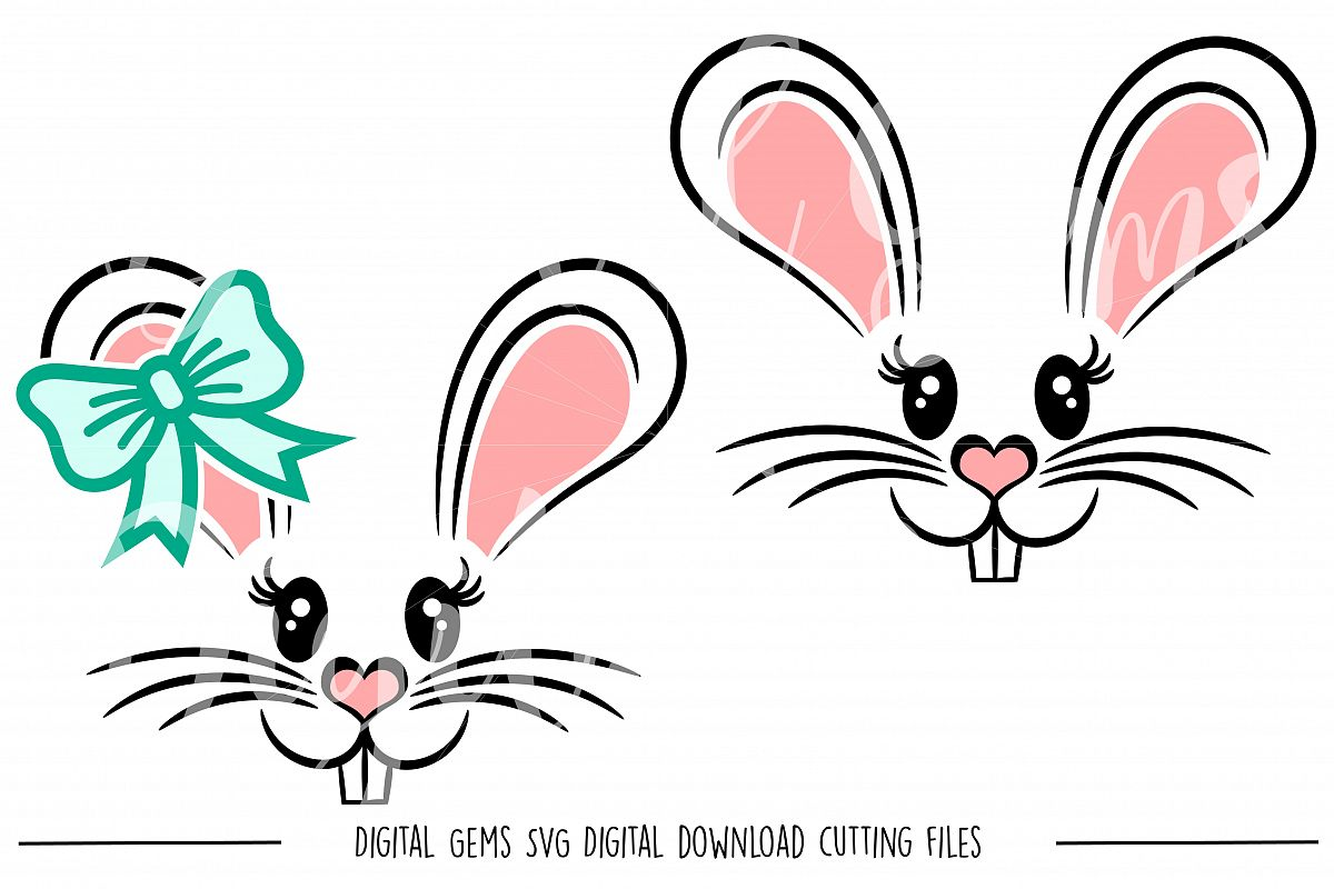 Rabbit Faces SVG / PNG / EPS / DXF Files example image 1