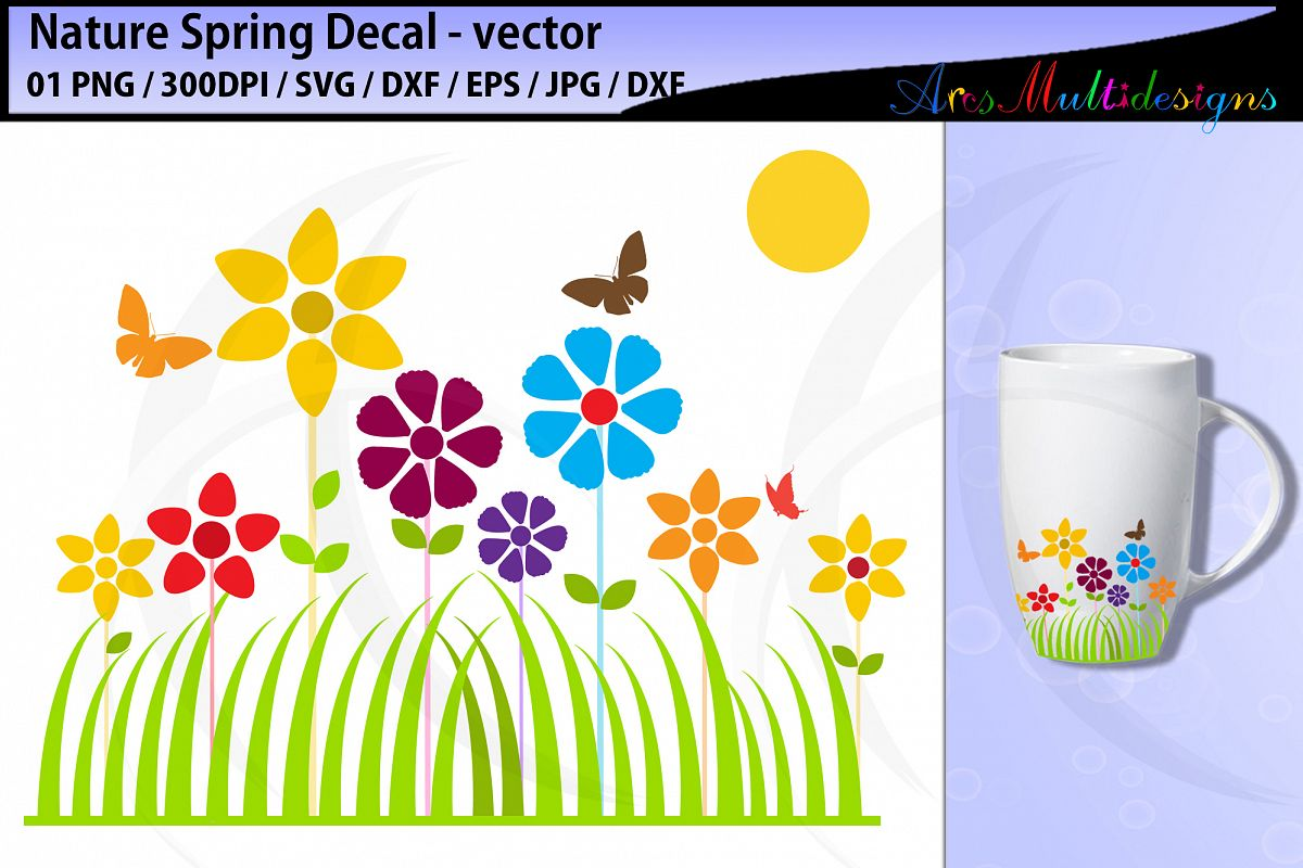 Spring fun decal svg cut file / spring decal / nature decal example image 1