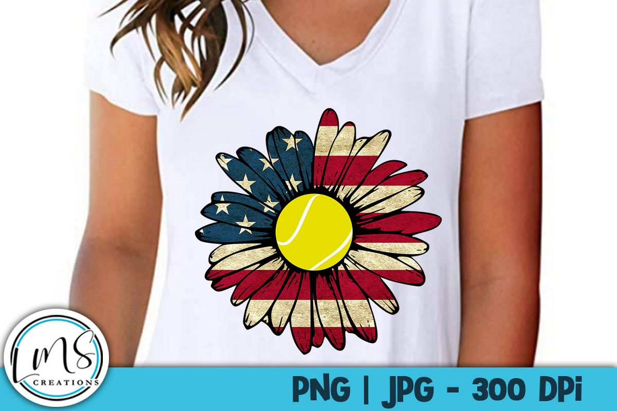 Patriotic Sunflower - Tennis PNG, JPG, Sublimation, Print example image 1