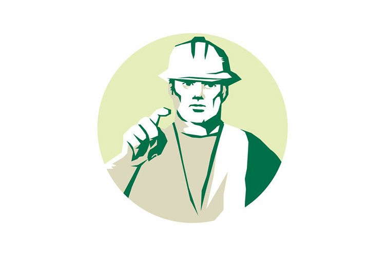 Builder Construction Worker Pointing Finger Stencil example image 1