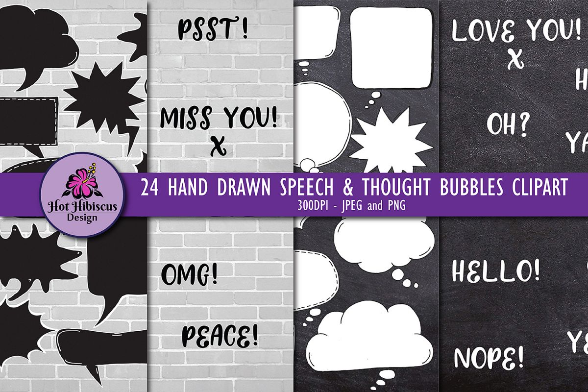 24 Hand Drawn Black and White Speech Bubbles Doodle Clipart example image 1