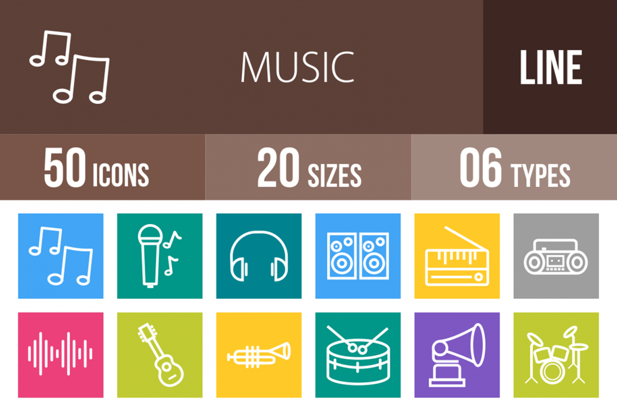 50 Music Line Multicolor B/GIcons example image 1