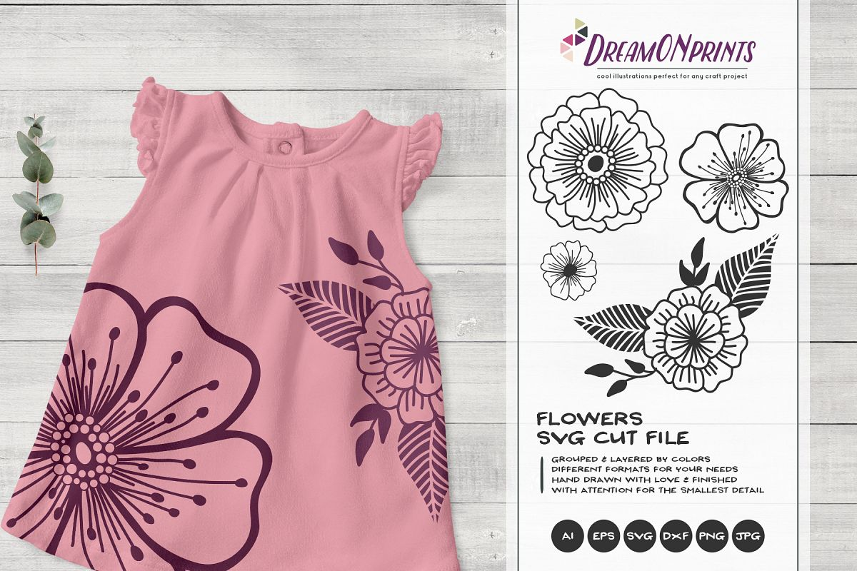 Flowers SVG Cut Files| Flower Illustrations example image 1